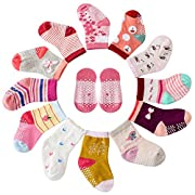 Maybox 12 Pairs Assorted Non Skid Ankle Cotton Socks Baby Walker Girls Toddler Anti Slip Stretch Knit Footsocks Sneakers Crew Socks With Grip For 1-5 Years Baby Girl (6-12 months)