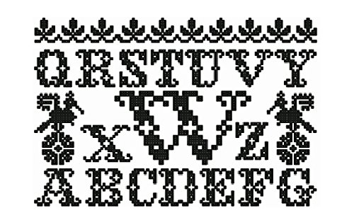 ThreaDelight ABC Embroidery Designs Set - Monochrome Alphabet Cross-stitch Machine Embroidery Designs - Uppercase, Lowercase Letters and Numerals in Two Sizes - 4