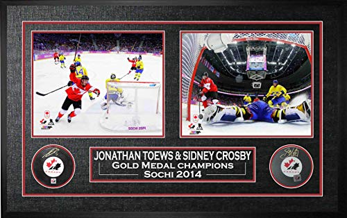 Sidney Crosby & Jonathan Toews Signed Pucks Framed 2014 Canada from Frameworth