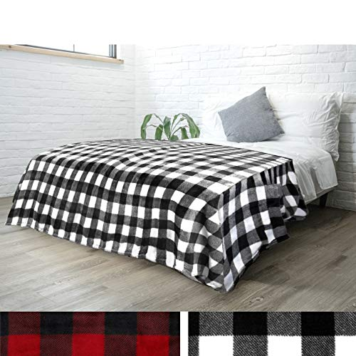 - PAVILIA Flannel Fleece Throw Blanket for Sofa Couch Bed | Super Soft Velvet Plaid Pattern Checkered Decorative Throw | Warm Cozy Lightweight Microfiber | 60 x 80 Inches Plaid White/Black