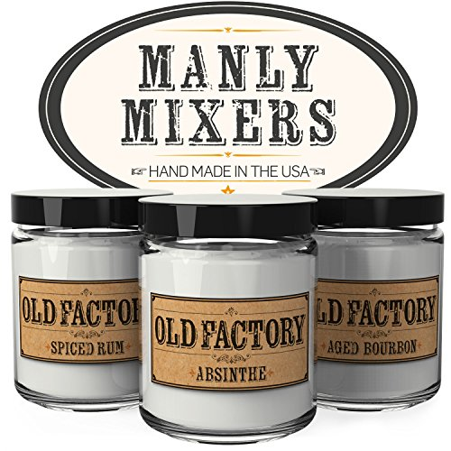Scented Candles for Men - Manly Mixers - Set of 3: Spiced Rum, Absinthe, Aged Bourbon - 3 x 4-Ounce Soy Candles - Each Votive Candle is Handmade in the USA with only the Best Fragrance (Manly Scent)