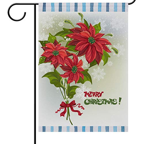 - Wamika Merry Christmas House Flags 28 x 40 Double Sided, Xmas Bouquet of Poinsettias Snowflakes Welcome Winter Holiday Yard Outdoor Garden Flag Banner for Party Home Christmas Decorations