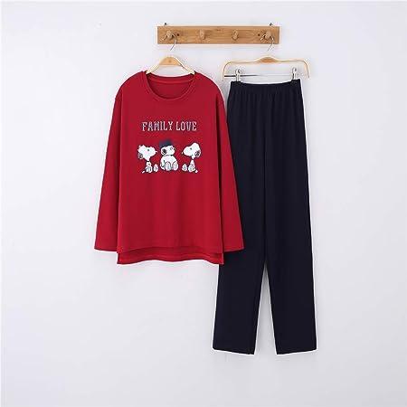 Pijamas Mujer Algodon Ropa de Domir Elegante Manga Pantalon Largos,Pareja de algodón de Manga Larga, Hombres y Mujeres, Traje de Servicio a Domicilio A-10 Femenino XXL: Amazon.es: Hogar