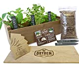 Indoor/Outdoor Herb Garden Kit - Classic Wood Planter Box with Herb Seeds, Plant