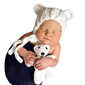 8138be5a00e Image Unavailable. Image not available for. Color  Melondipity s Newborn  White Baby Bear Hat ...