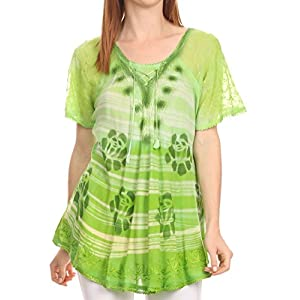 Sakkas 16789 - Reya Lace Embroidered Cap Sleeve Corset Tie Dye Blouse Top Shirt - Green - OS