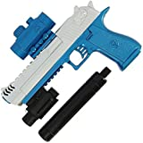 DNA Leisure New 2018 Children & Adults Battery Operated USB Blue & Silver GEL SOFT Full Auto Water Crystal Blaster Toy Pistol Hand Gun Set 20m Range With 3000 ammo and Laser