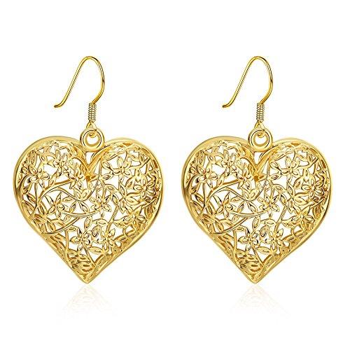 BODYA yellow gold Dangling Celtic Filigree Heart Charm Dangle Drop hook Posts Earrings