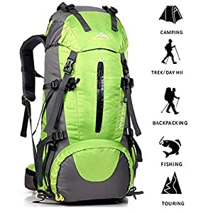 ONEPACK External Frame Hiking Backpack 50L Daypack Waterproof Outdoor Sport Trekking Bag with Rain Cover for Women Men Youth Climbing Mountaineering Camping Fishing Travel Cycling(Green)