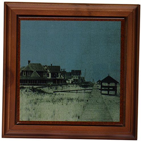 3dRose ft_26307_1 Vintage 1903 Bethany Beach Boardwalk-Framed Tile, 8 by 8-Inch