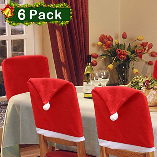 Christmas Chair Back Cover Set of 6 Santa Clause Red Hat Slipcovers Kitchen Chair Cap Sets Xmas Decoration for Dinning Room Christmas Banquet Holiday Festival Decor