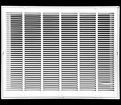 "30"" X 20 Steel Return Air Filter Grille for 1"" Filter - Fixed Hinged - ceiling Recommended - HVAC DUCT COVER - Flat Stamped Face - White [Outer Dimensions: 32.75""w X 22.75""h]"