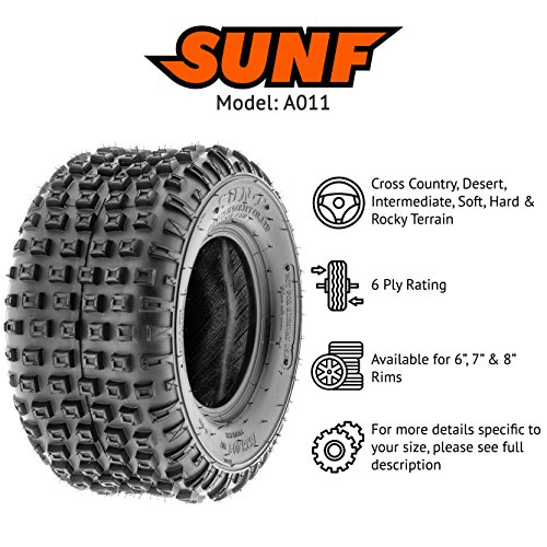 SunF 145/70-6 145/70x6 ATV UTV All Terrain Trail Replacement 6 PR Tubeless Tires A011, [Set of 2] by SUNF (Image #2)