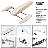 Dancing Wings Hobby B067 RC Outrigger Shrimp Boat Wooden Sponson Race Boat Kit with Power System with 3.0mm Shafting / 75mm Plastic Rudder