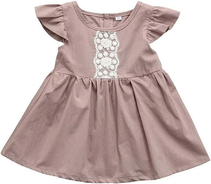 AIni Bebé Vestido De Encaje NiñA Vestido De Princesa Manga De ...