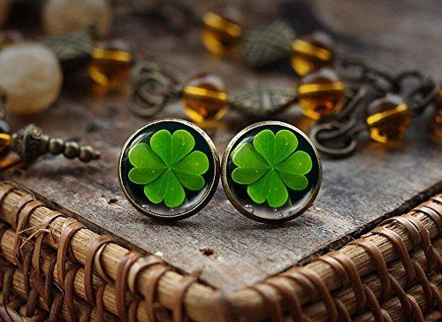 St Abigail Costume (Four Leaf Clover stud earrings, Lucky Clover earrings, St. Patrick's Day Green Shamrock earrings, Irish earrings, Green earrings)