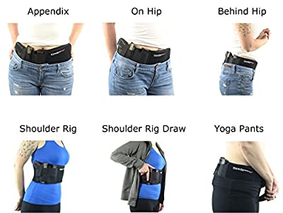 Ultimate Belly Band Holster for Concealed Carry | Black | Fits Gun Smith and Wesson Bodyguard, Glock 19, 17, 42, 43, P238, Ruger LCP, and Similar Sized Guns | For Men and Women