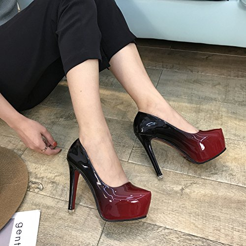 KHSKX-New Single Shoes Autumn And Winter New Single Shoes Shallow And Fine Heel Women Shoes High Heel Round Head Profession Thirty-nine rgqN8XmW
