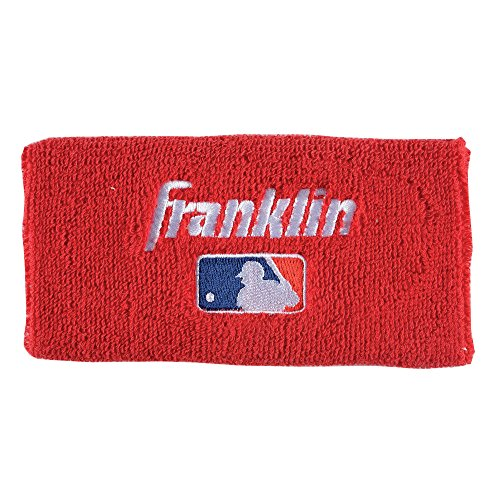 Baseball Red Wristband (Franklin Sports Professional Wristbands, Red, 4-Inch)