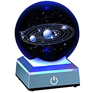 ERWEI 3D Solar System Model Crystal Ball 80mm 3.15″ Laser Engraved Hologram with Light Up Base Planet Model Science Astronomy Learning Toys Educational Gift for Kids