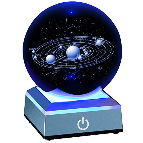 - Solar System Crystal Ball 80mm with 3D Laser Engraved Sun System with a Touch Switch LED Light Base Cosmic Model with Names of Various Celestial Bodies