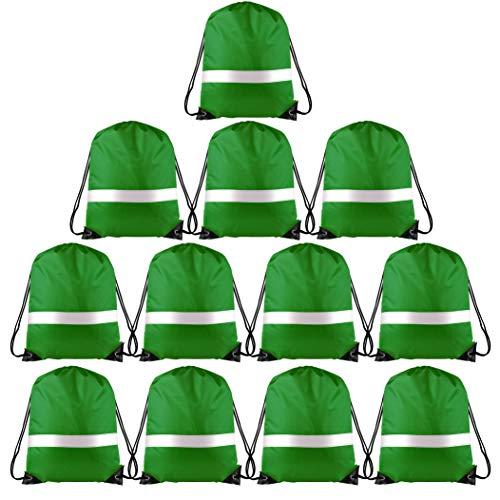 (KUUQA 12 Pack Drawstring Backpack Bag with Reflective Strip, String Backpack Bulk Cinch Sack Tote Bags for Yoga Sport Gym Traveling (Dark Green))