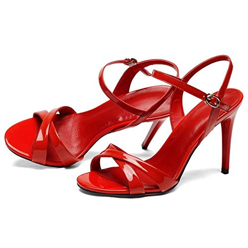 2 Pelle 5cm 9 red Donne Stiletto Zanpa Mode Sandali S8nqRT