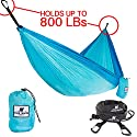The Wave Make Tracks Outdoors Double Parachute Hammock - with 2 Aluminum Carabiners & 2 Tree Friendly Straps lets it Set-up in Seconds and Weighs Only 1.5 lbs