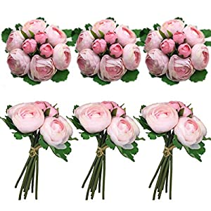 Lily Garden Artificial Pink Ranunculus Silk Flowers 6 Bouquets Table Arrangement or Wedding 110