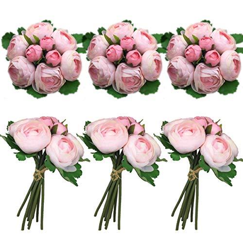Lily Garden Artificial Pink Ranunculus Silk Flowers 6 Bouquets Table Arrangement or Wedding