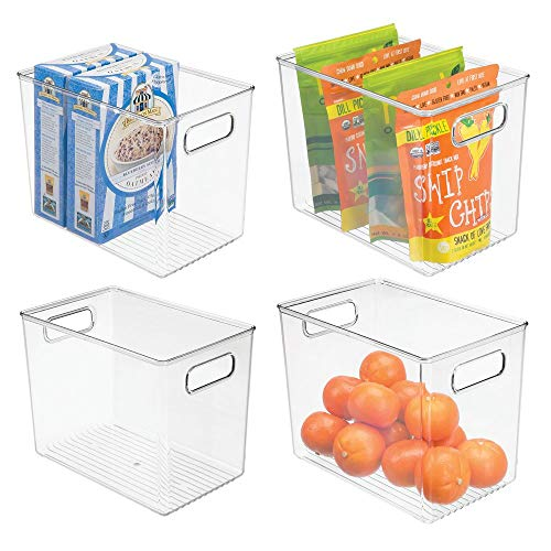 mDesign Deep Plastic Food Storage Container Bin with Handles - for Kitchen, Pantry, Cabinet, Fridge/Freezer - Slim Organizer for Snacks, Produce, Pasta - 10