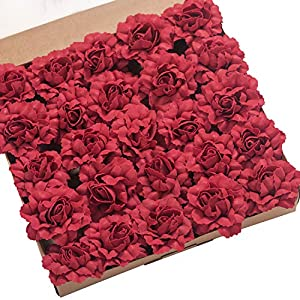 Ling's moment Artificial Flowers 7cm Dia Head Dark Red Open Rose Carnations 25pcs Real Looking Fake Carnations w/Stem for DIY Mother's Day Wedding Bouquet Centerpieces Arrangements Flower Decorations 107