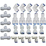 "Lemoy Quick Connect Push in Fittings to Fasten 1/4"" OD Water Tubing for Reverse Osmosis Systems and Water Filters Set of 25 (Type L+T+Y+I+Elbow Combo)"