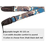 Mugig Guitar Strap Leisure Camouflage Style wide and soft materail with Leather end for Bass and Electric Guitar (Blue)