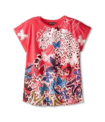 (ROBERTO CAVALLI Kids Girls Short Sleeve Butterfly Tee (Big Kids), Multi XS)