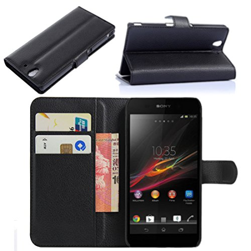 Premium Leather Flip Bracket Wallet Case Cover for Sony Xperia Z L36H / C6602 / C6603 (Wallet - Black)