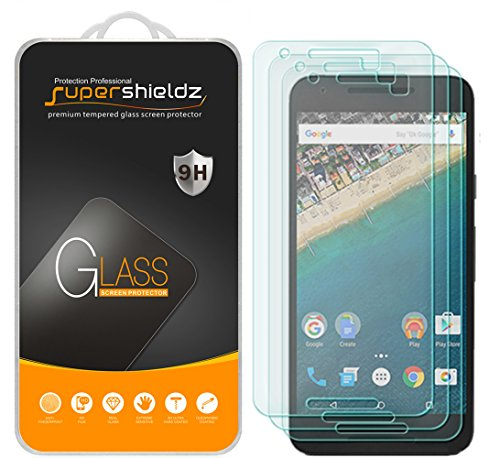 (3 Pack) Supershieldz for LG (Google) Nexus 5X Tempered Glass Screen Protector, Anti Scratch, Bubble Free