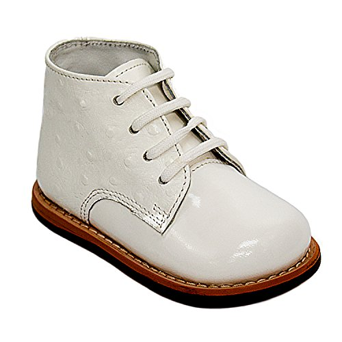 Josmo Sturdy 100% Patent Leather Baby Walking Shoes in White with Firm Sole for Support Size 6.5 ()