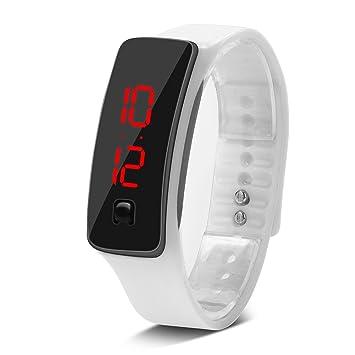 Deportes Reloj LED con Correa de Silicona Reloj Digital de Pulsera con Pantalla Electrónica DE 12 Horas para Niños 8 Colores(Blanco): Amazon.es: Deportes y ...