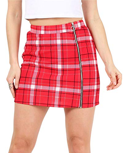 High Waisted O Ring Zipper Floral and Plaid Regular and Plus Size Mini Short Skirts for Women-Made in USA (Size X Large US 16-18, Red/Navy/Ivory Plaid)