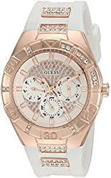 GUESS Women's Quartz Stainless Steel and Silicone Casual Watch, Color:White (Model: U0653L4)