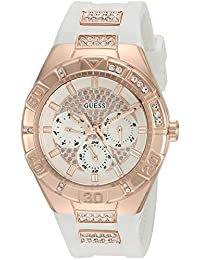 GUESS Women's Quartz Stainless Steel and Silicone Automatic Watch, Color:White (Model: U0653L4)