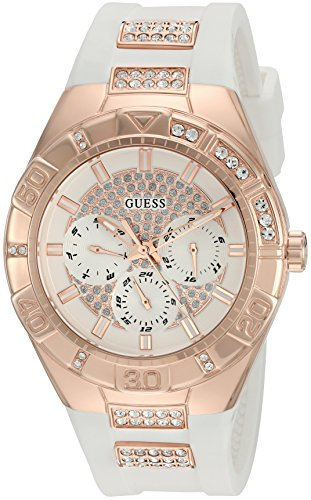 Stainless Buckle Steel Dial (GUESS Women's U0653L4 Sporty Rose Gold-Tone Stainless Steel Watch with Multi-function Dial and White Strap Buckle)