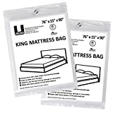 """UBOXES King Size Mattress Bags Cover 76"""" x 15"""" x 90"""" Moving Supplies, 2 Pack (KINGCOVER02)"""