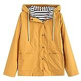 DEZZAL Women's Long Sleeve Wide Waist Stripes Insert Drawstring Hooded Jacket (Mustard, M)