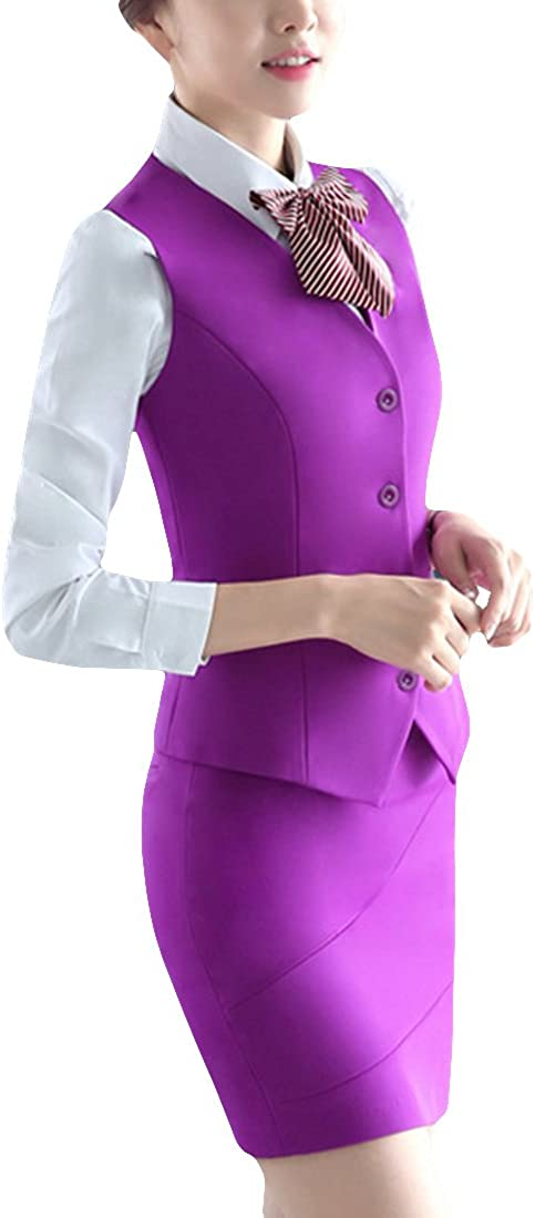 MFrannie Women Button Down Vest and Skirt Formal Work 2 Pieces Suit Set