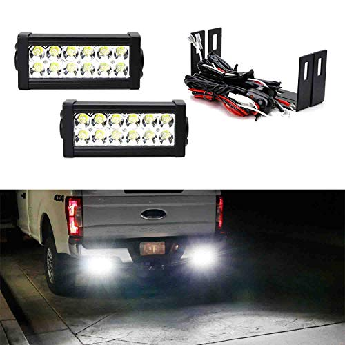 iJDMTOY Rear Bumper Mount Searchlight Reverse LED Light Bars Compatible With 11-up Ford F250 F350 F450 Super Duty, (2) 36W High Power LED Lightbars, Bumper Frame Mount Brackets & On-Off Switch Wiring