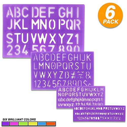 Emraw 4 Pieces Assorted Colors Durable Lightweight Plastic 8, 10, 20, 30mm Size Letter and Alphabet Stencil Sets Drawing Drafting Template - for School & Home (6-Pack)