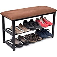 BirdRock Home Entryway Storage Bench with Shoe Rack | Brown | Cushion Seat | Metal
