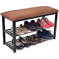 BirdRock Home Entryway Storage Bench with Shoe Rack | Brown | Cushion Seat | Metal